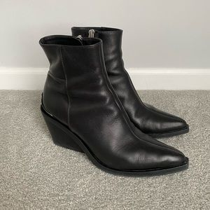 Rag & Bone Santiago Black Leather Wedge Booties